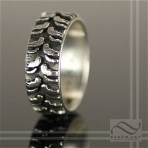 solid sterling silver truck tire wedding ring jewelry