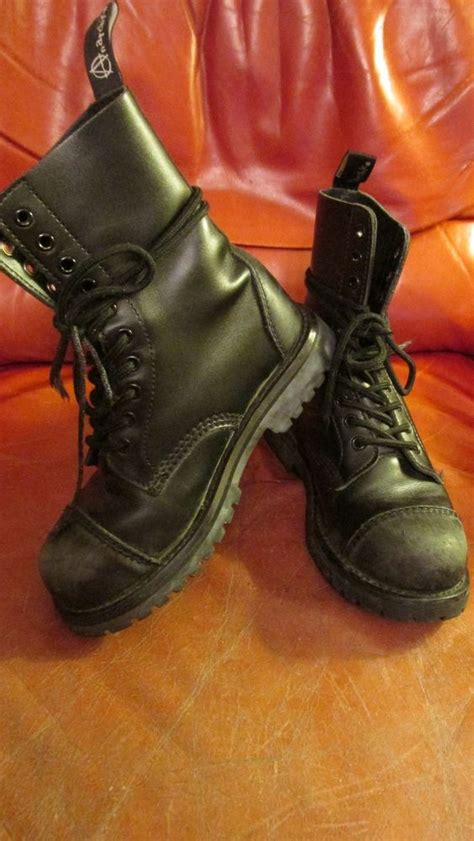 Hell Boot Coboy Black s anarchic black leather combat boots sz