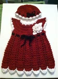 Red christmas holiday santa crochet baby dress amp hat