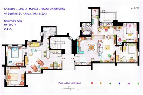 friends floor plan hand drawn floor plans of popular tv show apartments and