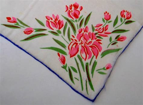 Abon Made In Japan rosy floral silk hanky vintage 1950 s made in japan
