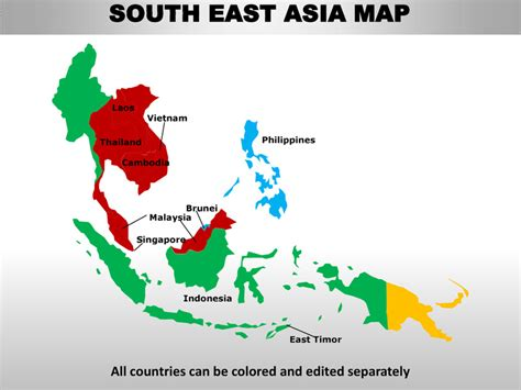 south east countries map south east asia editable continent map with countries