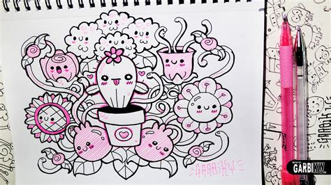 doodle drawing easy kawaii flowers hello doodles easy drawings by garbi kw