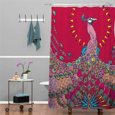 peacock design curtains peacock shower curtain with red color scheme also boho