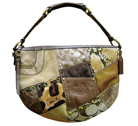 Patchwork Coach Purse - authentic coach 13003 brown tonal patchwork soho hobo