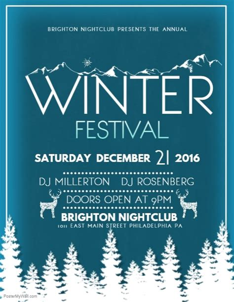 Winter Festival Template Postermywall Winter Flyer Template