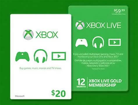 Xbox Live Gift Cards Free - free 20 xbox gift card w xbox live 12 month gold purchase 60 free shipping