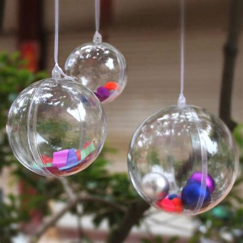 clear plastic fillable ball ornaments xmas favor candy