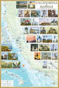 california and hawaii lighthouse map illustrated guide