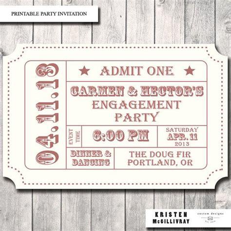 printable tickets stubs engagement party ticket invitation admission ticket stub