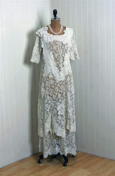 1910 s antique vintage crisp white sheer french lace