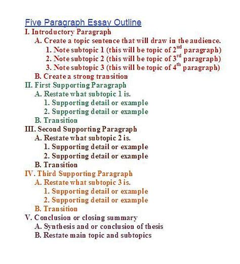 Essay Outline Exles That You Can Use by Essay Outline Template Exles Of Format And Structure