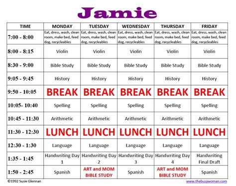 homeschool schedule sle the busy