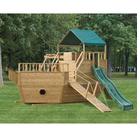 pirate ship swing sets amish made 8x14 ft wooden pirate ship playground set