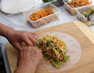How To Make Vegetarian Rice Paper Rolls - rice paper rolls with green papaya salad abc brisbane