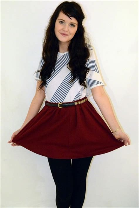 maroon high waisted primark skirts white striped vintage