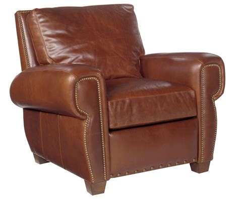 reclining chair leather with nail trim and pillow back