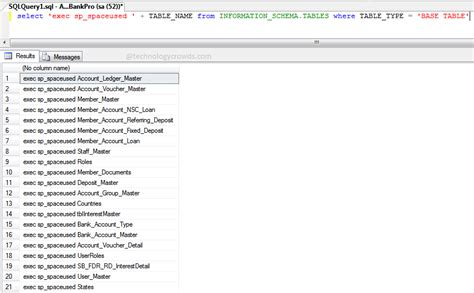 sql list tables in database sql table size how to get database tables size in sql