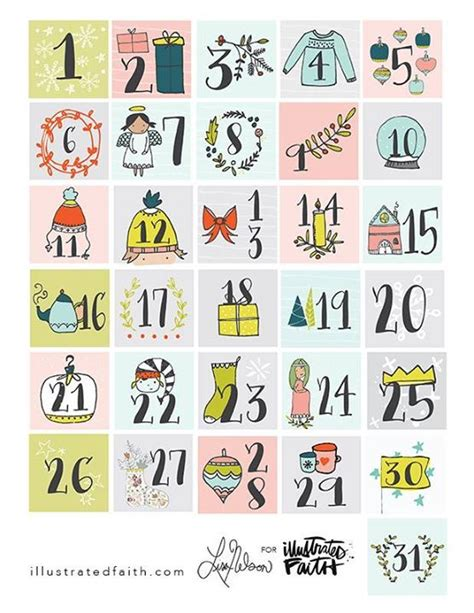 printable december calendar pieces free advent printable from illustrated faith planner and