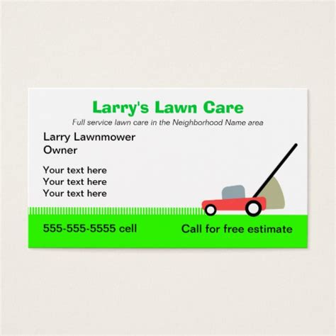 lawn care business card templates free lawn care services business card zazzle