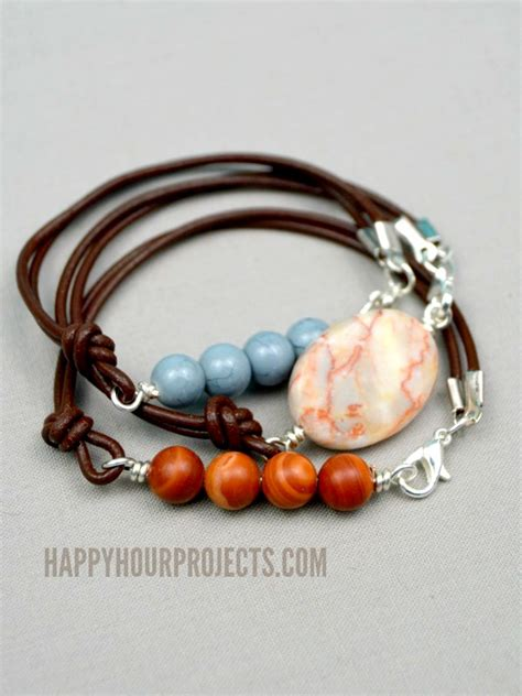 side clasp leather and bead bracelets at www