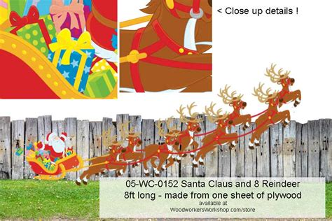 best art of santa and eight teindeer 05 wc 0152 santa and eight reindeer yard woodworking pattern woodworkersworkshop