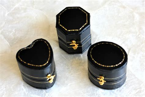 antique style mini ring box black leatherette oval or