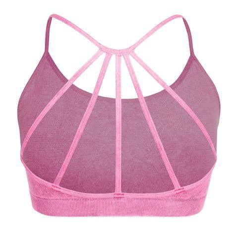 Caged Back Bra Top ash pink vintage caged back sports bra top for