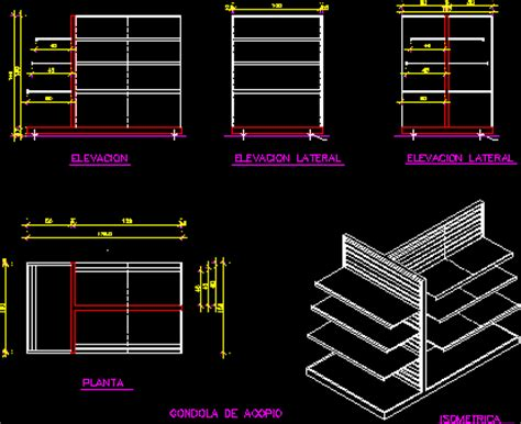 gondola display rack  dwg block  autocad designs cad