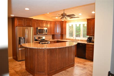 Kitchen remodel with two tier island traditional kitchen boston