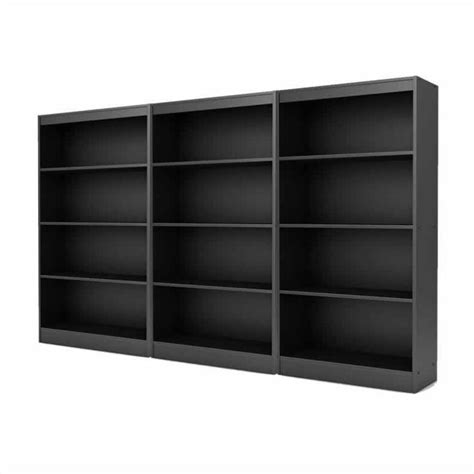 south shore axess 4 shelf wall bookcase in black 421678
