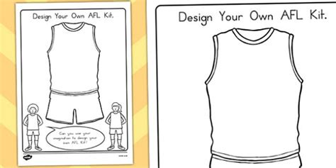 Design Your Own Afl Kit Activity Australia Sport Design Afl Colouring In Pages
