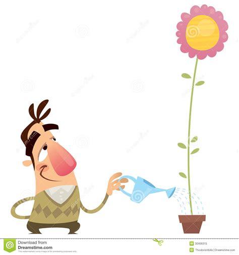 fiore d fiore d innaffiatura fumetto giardiniere felice