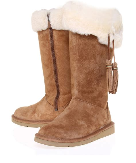 sheepskin boots for ugg plumdale sheepskin boots in brown lyst