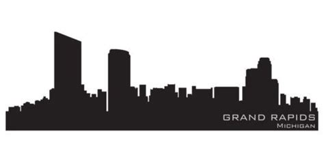Grand Rapids Skyline Outline by Grand Rapids Usa City Skyline Silhouette Vinyl Wall Sticker Outli