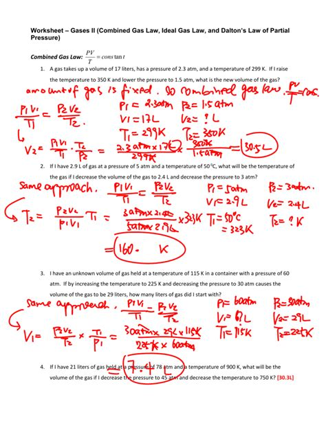 Combined Gas Worksheet Answers