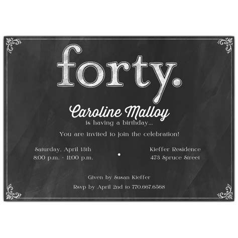 forty white  black chalkboard  birthday invitations paperstyle
