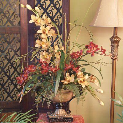 Soft Yellow Red Cymbidium Silk Orchids Floral Arrangment | soft yellow red cymbidium silk orchids floral arrangment