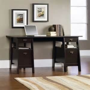 Small Executive Office Desks Sauder Stockbridge Executive Trestle Desk Jamocha Wood Walmart