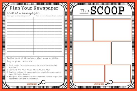 news templates free classroom freebies student newspaper template