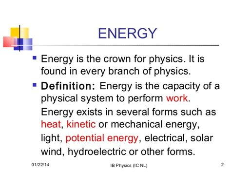 What Is The Definition Of Light Energy by Work Energy And Power