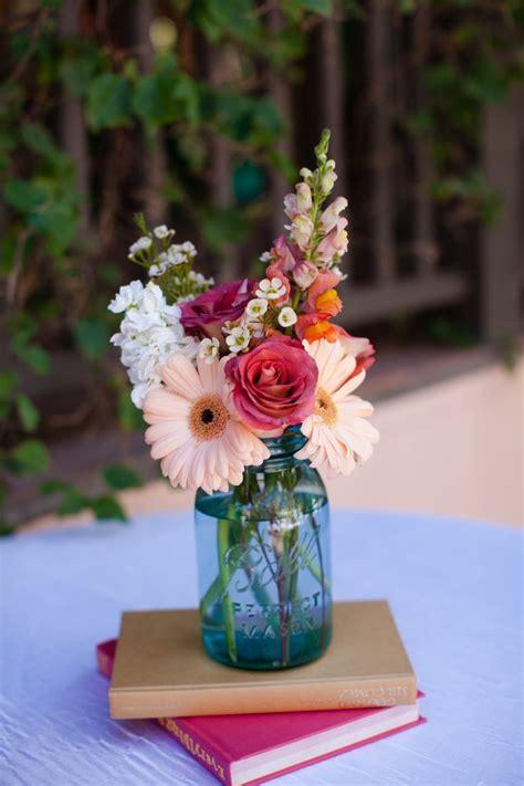 Wedding Flowers, Cocktail hour table decor: Mason jar on