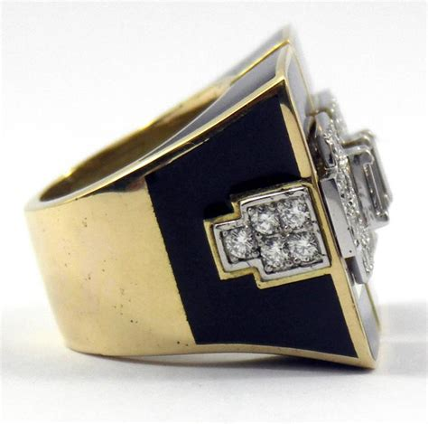 deco inspired rings large deco inspired ring with black enamel and