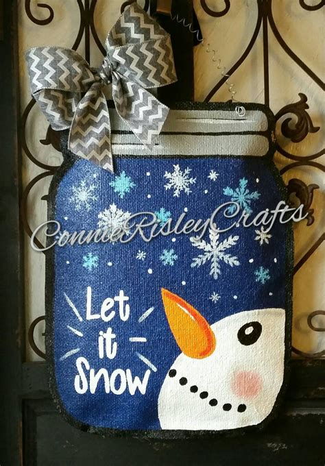 winter snowman mason jar burlap door hanger decoration and