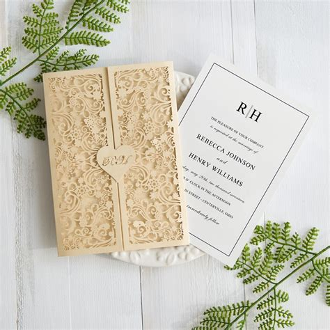 Gold Wedding Invitation Cards by Gold Wedding Invitation Amulette Jewelry