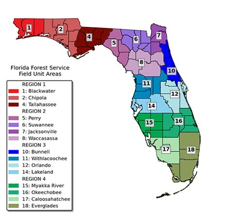 agricultural map of florida field operations bureaus and sections florida forest