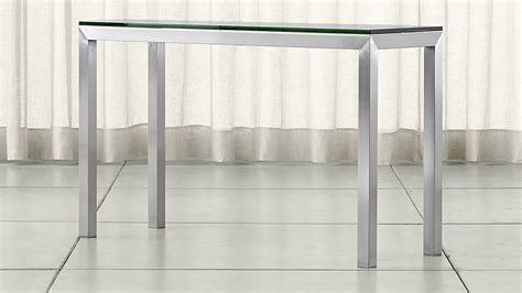 console table with two ls parsons stainless steel console table with clear glass top