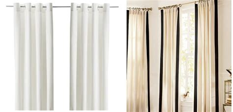 ikea panel curtain hack ikea to pottery barn curtain hack things to make pinterest drop cloths curtain trim and