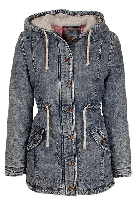 Acid Jaket womens denim acid wash parka jacket faux fur hooded winter padded coat ebay
