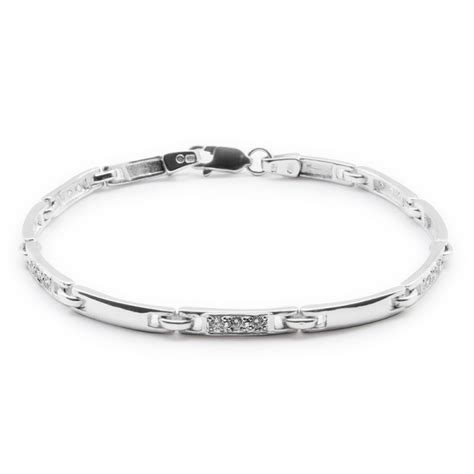 Sterling Silver Chain Link Bracelet with Cubic Zirconia